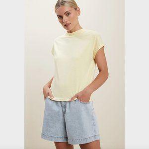 Seed Heritage Yellow T-Shirt Short Sleeve Crop Mock Neck XXS